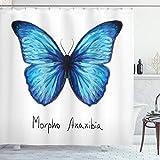 ABAKUHAUS Schmetterling Duschvorhang, Abstraktes Aquarell, mit 12 Ringe Set Wasserdicht Stielvoll Modern Farbfest & Schimmel Resistent, 175x180 cm, Hellblau Indigo & Weiß