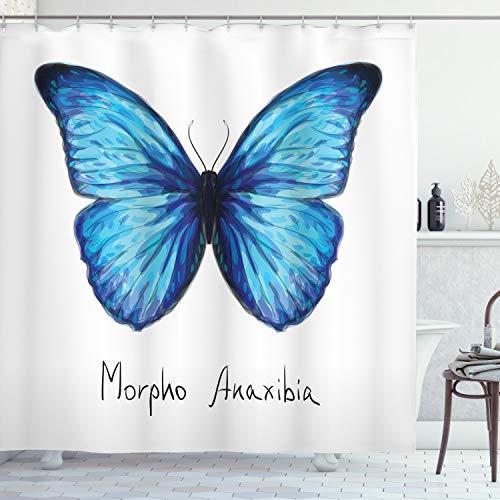 ABAKUHAUS Schmetterling Duschvorhang, Abstraktes Aquarell, mit 12 Ringe Set Wasserdicht Stielvoll Modern Farbfest & Schimmel Resistent, 175x200 cm, Hellblau Indigo & Weiß