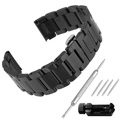 Beauty7 Unisex Edelstahl Uhrenarmband 23mm Schwarz mit Faltschließe Gerade Anstoß Länge VerstellbarVerkürzungswerkzeug Link Entferner 4 STK Federstege und Federstift WBL00025ST23a