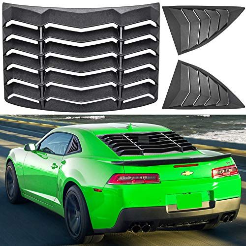 E-cowlboy Rear&Side Window Louver Windshield Sun Shade Cover for Chevrolet Camaro 2010~2015 in GT Lambo Style Custom Fit ABS (Matte Black)