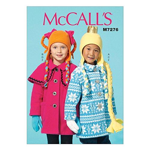 McCall 's Patterns 7276CL Größen 6–8Kinder/Mädchen Mäntel/Hut/Schal und Fäustlinge Schnittmuster, Mehrfarbig