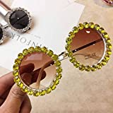 DAIDAICDK Gafas de Sol Redondas para Mujer con decoración de Diamantes de imitación Gafas de Sol con Montura pequeña de Metal anteojos degradados