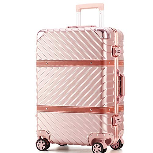 Luggage Suitcase 20 Inch 24 Inch 29 Inch Portable Carry On Luggage Suitcase Spinner Hardshell Trolley Suitcase With Spinner Wheels Business Travel Bag Aluminum Frame ( Color : Pink , Size : 20 inch )