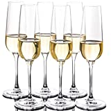 FAWLES Crystal Champagne Flutes Set of 6 - Classic Clear Stemmed Champagne Flute Glasses, 7 Ounce,...