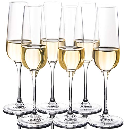 FAWLES Crystal Champagne Flutes Set of 6 - Classy Clear Stemmed Champagne...
