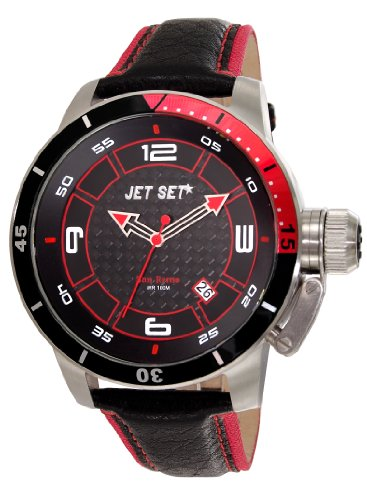 JET SET Herren Analog Quarz Uhr mit Leder Armband J90101-238_Silver