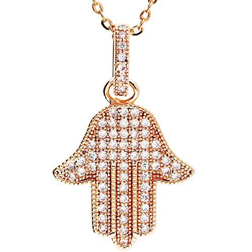 MYA art Damen Kette Halskette Hamsa Hand der Fatima mit vielen Swarovski Elements in Rosegold vergoldet Weiß MYARGKET-23