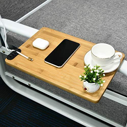 JJDPARTS Bamboo Bedside Shelf, Easy Assemble Bunk Bed Shelf, Bedside Shelf for Bed College Dorm Room with a Cable Manager, Versatile Use as Snack Bedside Table (Natural)