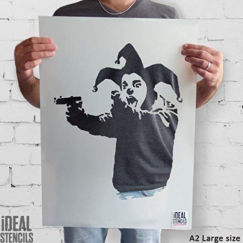 Banksy Schablone - Insane Clown mit Guns | Wiederverwendbar Wohndeko & Kunst Handwerk Malerei Schablone - halb geschliffen Durchsichtig Schablone, L/ 37X45CM