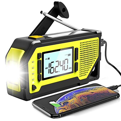 Emergency Weather Alert Radio, Hand Crank Solar NOAA Weather Radio with AM FM, SOS Alarm, Portable 2000mAh Cell Phone Charger, Flashlight for Outdoor Camping Hiking Emergency