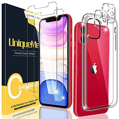 UniqueMe [5 Pezzi Cover Compatibile con iPhone 11 6.1 TPU Custodia,[2 Pezzi] Vetro Temperato Pellicola Protettiva e [2 Pezzi] Pellicola Fotocamera e [1 Pezzi] TPU Protezione Case.
