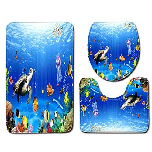 charmsamx Deep Ocean Scenery Bath Mat Sets Tropical Fish Turtle Coral Starfish Pattern Bathroom Rugs 3 Piece Anti-Skid Pads Bath Mat, U-Shaped Contour Rug and Toilet Lid Cover for Tub Shower Bathroom