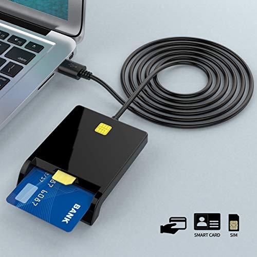 Rocketek Lettore di Smart Card, Adattatore per Lettore di schede CAC di Accesso Comune USB Militare Dod | Carta d'identità/Carta con Chip IC Bank | Lettore di schede SIM, Lettore di schede CAC