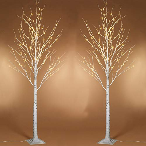 Twinkle Star 6 Feet 96 LED Lighted Birch Tree for Thanksgiving Decor Home Wedding Party Indoor Outdoor Christmas, Fall, Autumn Decoration, 2 Pack, Warm White