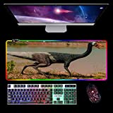 Larger Extended LED RGB Gaming Mouse Pad Stitched Edges Long XXL Desk Keyboard Mat for Work Gaming Office Home Dinosaur 900x400x4mm B