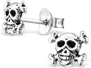 Bungsa Doodshoofd oorstekers, 925 echt zilver, sch...