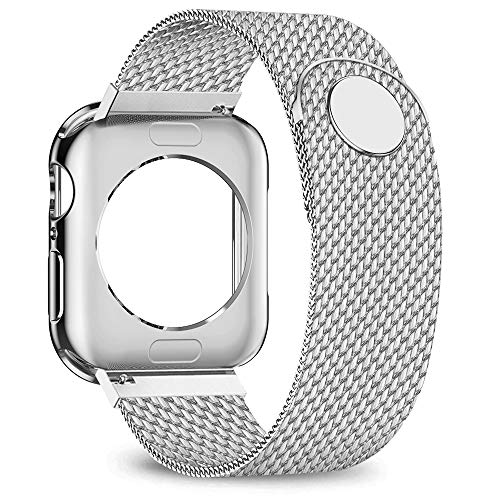 jwacct Compatible for Apple Watch Band with Screen Protector 38mm 40mm 42mm 44mm, Soft TPU Frame Case Cover Bumper Compatible for iwatch Series 1/2/3/4/5 Sliver