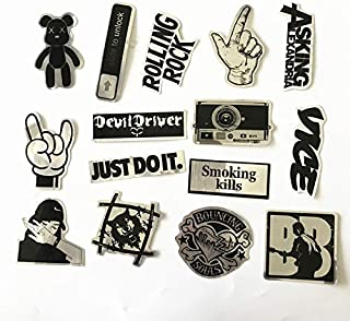 Band Stickers 15PCS Rock and Roll Music Stickers Pack Vinyl Waterproof Stickers for Electronic Organ Guitar Piano Violin Drum kit Flute Brass Decals and Stickers for Laptop Skateboard Luggage