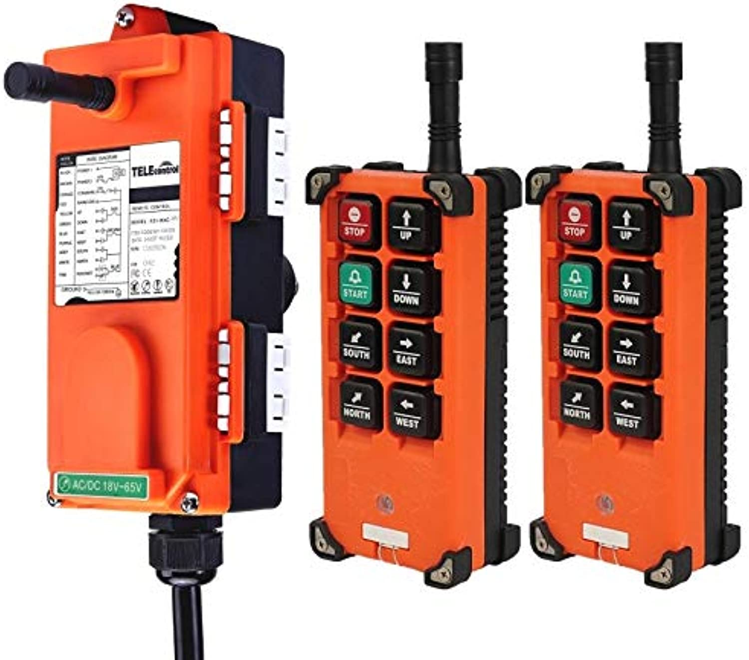 Ochoos F21-E1B Industrial Wireless Universal Radio Remote Control for Overhead Crane AC DC 2transmitter and 1receiver(color  18to65V UHF425to446)