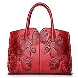 Coolives Flor clasica en relieve Bolso de mano con manija superior para Mujer Rojo