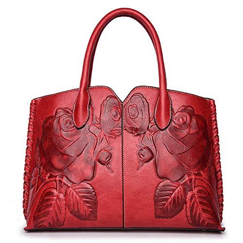 Coolives Damen Henkeltasche Klassische Blume Geprägt Handtasche mit Schulterriemen Schultertasche Umhängetasche Tasche Rot EINWEG
