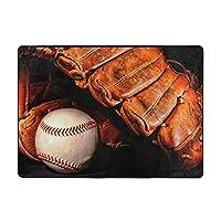 洗えるラグマット 柔らか2畳カーペット 通年用じゅうたん おしゃれ滑り止め付き記憶スポンジカーペット 足の圧力を緩和いろいろ図案 野球 黒 ボール柄