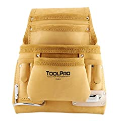10 pocket nail and tool pouch. Made of top grain leather. Heavy duty stitching and nickel plated hardware. Includes steel hammer loop and tape measure clip. Accommodates belts up to 3 in. wide.