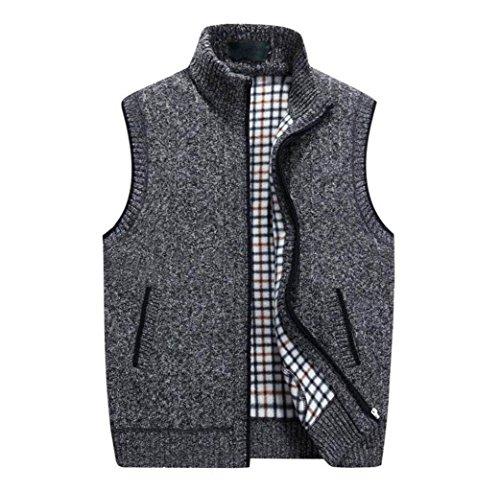 GKKXUE Herren Strickwolle Weste, Herbst Winter warme Pullover Weste Vater Geburtstagsgeschenk Größe M bis XXXXL (Farbe : Dunkelgrau, größe : XL)