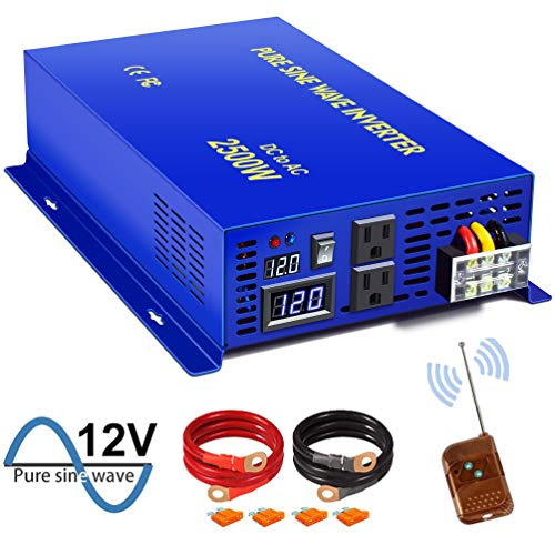 2500W Pure Sine Wave Inverter - 12V DC to 110V 120V AC with Wireless Remote Switch, 5000 watt Surge, Power Converter for RV, Camping, Solar System, Grid Off.(2500W/12V/Remote Switch).