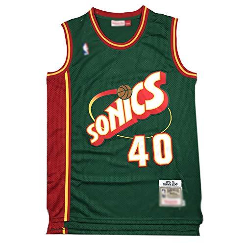 CHSC Supersonics # 40 Shawn Kemp Fan Trikot Basketball Jersey Weste, Mesh Retro Stickerei Version ärmelloses Unterhemd Hemd Tops Herren Jungen-A_XL—Sportgeschenk