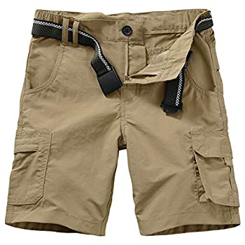 Kids Boy s Youth Hiking Casual Quick Dry Shorts Lightweight Cargo Tatical Zipper Pockets Camping Travel Shorts  9048 Khaki XL