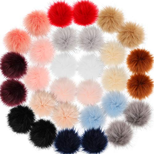 WILLBOND 30 Pieces Faux Fur Pom Pom Balls DIY Faux Fox Fur Fluffy Pom Pom with Elastic Loop for Hats Keychains Scarves Gloves Bags Accessories (Farbe Set 2)