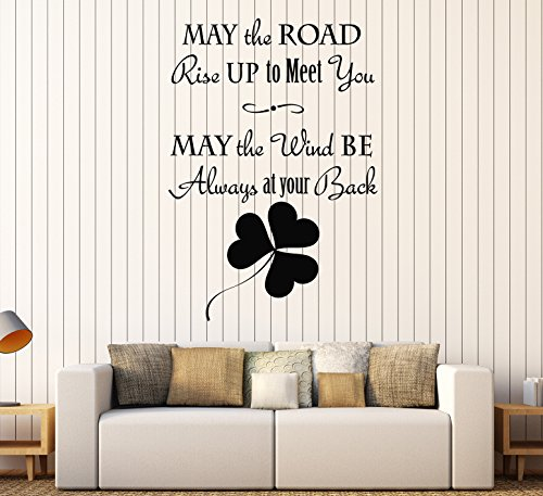Large Vinyl Wall Decal Old Irish Blessing Ireland Celtic Art Irisman Stickers Large Decor (ig4595) Matte Black S 11 in X 16 in
