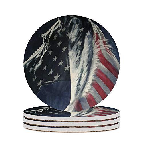 Posavasos para vino, bandera de Estados Unidos, copas de caballo, cojín para decoración del hogar, tazas de corcho, almohadillas de oficina, protección contra manchas, 4 unidades