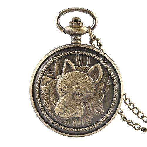 DIHAO Reloj de Bolsillo Vintage Reloj de Bolsillo Cuarzo Retro Cadena de Bronce Hombres Relojes Collar Números árabes Dial Reloj de Cara Blanca