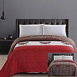 DecoKing 32282 Tagesdecke 200x220 cm Mikrofaser Bettüberwurf Steppung zweiseitig leicht zu pflegen braun Schoko weiß rot H&e Kreise Hug a Pug