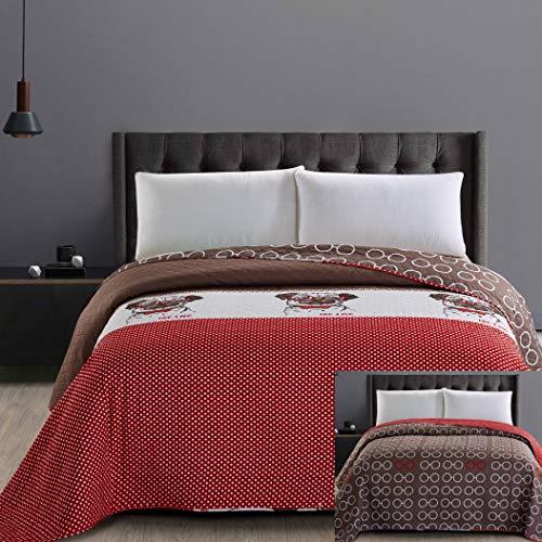 DecoKing Couvre-lit en microfibre avec surpiqûre et facile d'entretien Marron chocolat blanc rouge chien cercles Hug a Pug, Hug A Pug, 260x280 cm