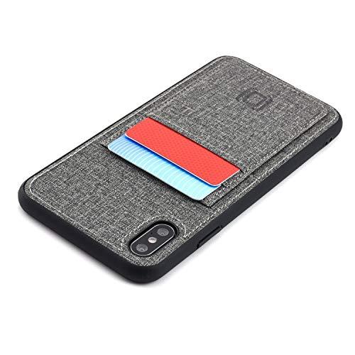 Dockem Luxe M2T Funda Cartera para iPhone XS MAX: TPU Slim de la Serie M con Piel Sintética Diseño Tela y 2 Ranuras para Tarjetas con Placa de Metal Integrada para Soporte Magnético