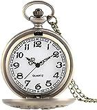 HUANYARI Reloj de Bolsillo clásico Vintage Antique Dragon y Phoenix Cuarzo Reloj de Bolsillo Hombres y Mujer S Collar Colgante Moda Moda Bronce Amante S Gift Men S Vintage Pocket Watch Evolutions