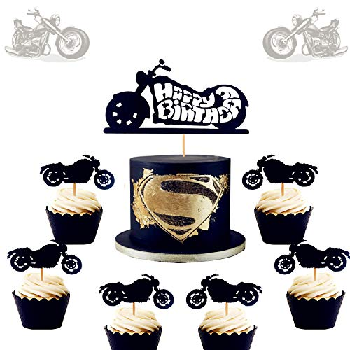 LaVenty 25 PCS Motorcycle Cake Topper Scooter Cupcake Toppers Harley Happy Birthday Cake Topper for Man's Birthday Party or Boy's Birthday