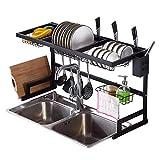 Madeinely Estante para platos de cocina, estante de secado y drenaje de almacenamiento, plato de acero inoxidable, escurridor de platos