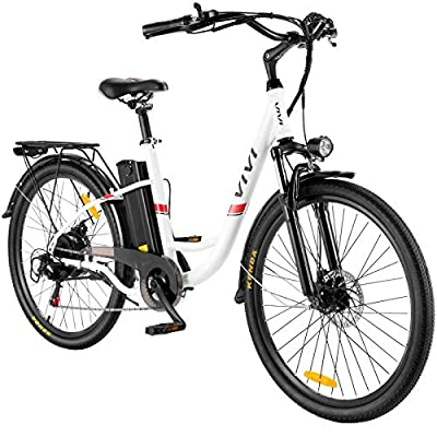 "VIVI Electric Bike, 26"" Electric Cruiser Bike 350W Ebike 20MPH Adults Ebike with Removable 8Ah Lithium-Ion Battery, Shimano 7 Speed, City Commuter Electric Bicycle"