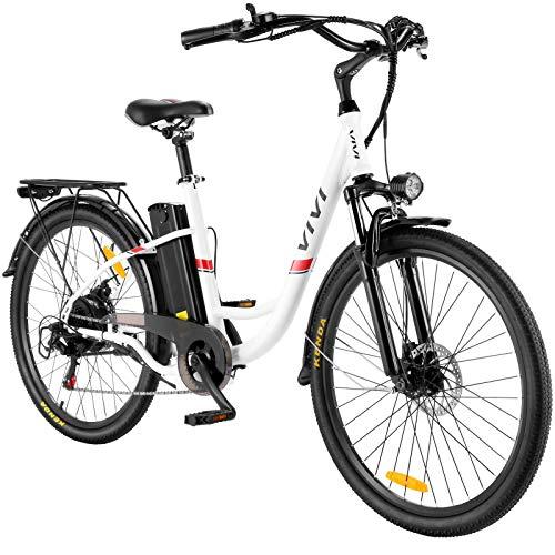 VIVI E-Bike Elektrofahrrad, 26 Zoll Pedelec Elektrisches Fahrrad Citybike Elektrofahrräder mit Abnehmbarer 8Ah Lithium-Batterie, Shimano 7-Gang (26 Zoll Weiß)