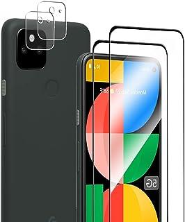 Google Pixel 5A 用 ガラスフィルム(2枚入り)+カメラフィルム(2枚入り)強化ガラス 全面保護 フィルム 硬度9H/高透過率/飛散防止/耐衝撃/指紋防止/気泡ゼロ/自動吸着/レンズ保護 Pixel 5A 対応