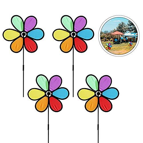 GLAITC Molinillo de Viento,4 Piezas Hilanderos de Viento Coloridos Molinillos de Viento de Juguete DIY Molino de Viento para Jardín, Patio, Pequeño Molino de Viento, Decoración
