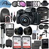Canon EOS M50 Mirrorless Digital Vlogging Camera with EF-M 15-45mm is STM Zoom Lens, 2 Pack SanDisk 128GB Memory Card, Backpack, Tripod, Flash and A-Cell Accessory Bundle (Black)