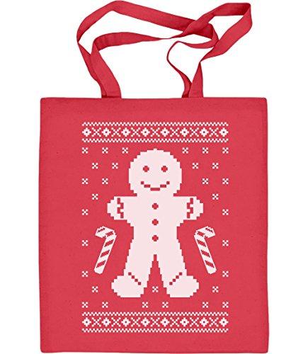 Shirtgeil Lebkuchenmann Pfefferkuchen Lustiges Weihnachtsgeschenk Jutebeutel Baumwolltasche One Size Rot