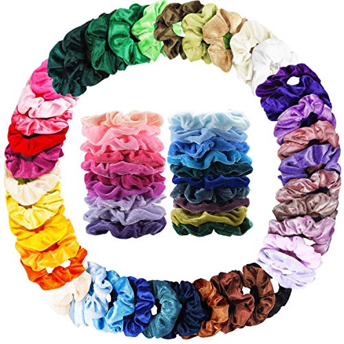 Anself Lot de 50 chouchous en velours élastiques pour cheveux pour femme ou fille 50 couleurs assorties