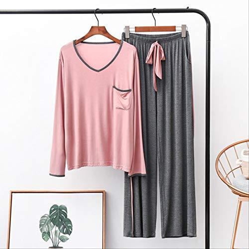 XFLOWR herfst modal pyjama set vrouwen comfort losse nachtkleding eenvoudige stijl vrije tijd dames V-hals grote maat dames Homewear M roze-grijs broek