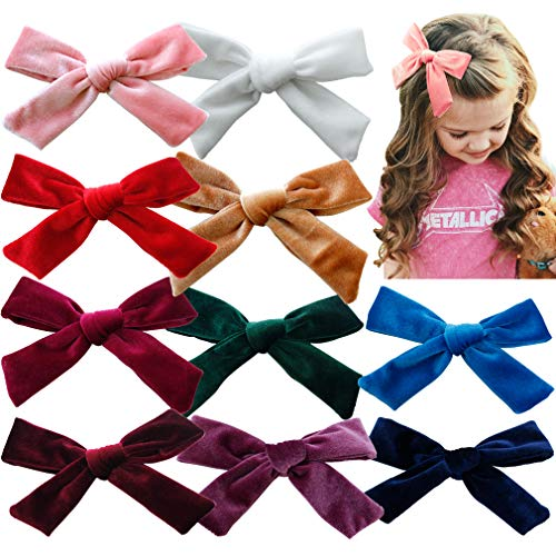 Big Hair Bows Girls Toddler Velvet 5 inches 10 PCS Hair Clips for Girls Alligator Baby Ponytail Holder